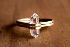 Isn't this tiny herkimer diamond ring adorable! They stack too