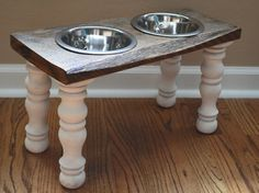 Reclaimed Wood Raised Farmhouse Dog Feeder With Turned Table Legs Elevated Dog Bowls, Raised Dog Bowls, Pet Beds, Dog Bed, Hypoallergenic Dog Food, Dog Bowl Stand, Dog Rooms, Pet Feeder, Dog Crafts