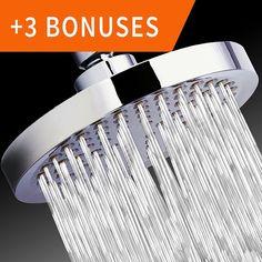 "Shower Head - Rainfall High Pressure 6"" - Rain High Flow Fixed Luxury Chrome Showerhead"