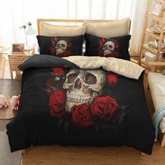 Nevermore 4-PC Halloween Gothic Skull Pumpkin Quilt Pillow Shams Bedding Set F//Q