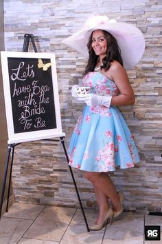 Tea party Bridal shower. The bride to be outfit. Tea party dress