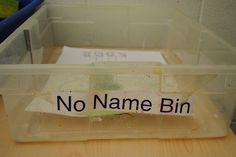Good Idea! - if you can't find your work, try the no name bin!   I think I'd find a cute picture of a sad kid on the Internet and add that to the front too!