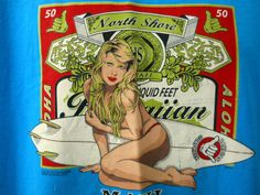 North Shore Brewing Co Blue Tee Shirt Beer Thong Girl Surfboard Hang Loose Large #LooneyTunesbutthatisonthetagseebelow #EmbellishedTee