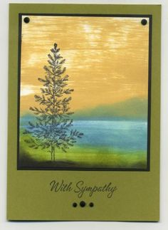 I have seen other similar cards in the Gallery, this is my take. The sky created by dragging the ink pad across the top half of the piece of whisper white, than sponged the background and finished by stamping image in the foreground TFL