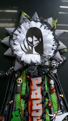 Nightmare before christmas themed garter! Custom lettering and handmade images to complete the overall look! Annies mums, find me on facebook!