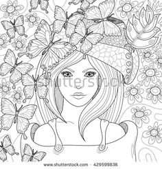 Vector hand drawn pattern. Anti stress coloring book page for adult. Coloring book page for adult. image of beautiful girl's face in hat with flowers and butterflies