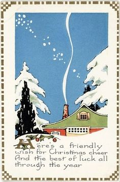 Whitney - Vintage Art Deco Christmas Postcard Chimney Smoke Snow Tree Scene