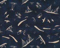 Patchworkstoff MORE HEARTY GOOD WISHES, Maritimes mit Walen, nachtblau-hellbeige