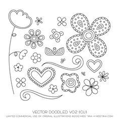 Doodled Digital Stamps Clipart Clip Art by MissTiina on Etsy Doodles Zentangles, Zentangle Patterns, Doodle Drawings, Doodle Art, Clipart, Muster Tattoos, Sharpie Art, Sharpies, Doodle Lettering