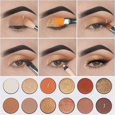 Eye Makeup Steps, Makeup Eye Looks, Smokey Eye Makeup, Makeup For Brown Eyes, Eyebrow Makeup, Skin Makeup, Orange Eye Makeup, Mac Makeup, Makeup Brush