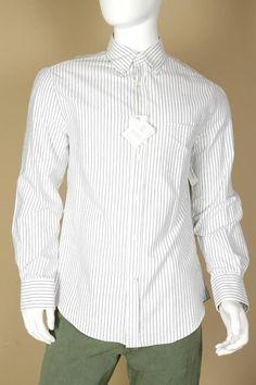 $495 Brunello Cucinelli White Striped Button Down Shirt Small Slim Fit New Blue #BrunelloCucinelli
