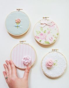 Shabby Chic Embroidery Hoop Art Set Upcycled Fabric Vintage Fabric White Pink Green One of a Kind Nursery Art. Shabby Chic Wall Decor, Shabby Chic Interiors, Shabby Chic Living Room, Shabby Chic Bedrooms, Shabby Chic Kitchen, Shabby Chic Homes, Vintage Shabby Chic, Shabby Chic Embroidery, Embroidery Hoop Crafts