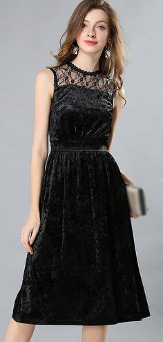 1b9aaae4d0 Party Velour Lace Stitching Sleeveless Skater Dress