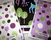 Baby Girl Burp Cloths - Set of 3 - Michael Miller Lolli Dot Orchid, Lavender, and Pet Deer Brown