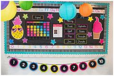 Neon Pop Collection by Schoolgirl Style www.schoolgirlstyle.com pineapple flamingo ice cream classroom decor star bulletin board neon brights