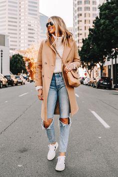 Fashion Jackson Wearing Everlane Camel Coat White Turtleneck Sweater Boyish Ripped Jeans Veja V10 Sneakers