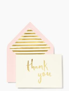 Paint Brush Thank You Card Set - kate spade new york | grand gestures, kind words and little acts of love call for a handwritten notes on pretty, personalized stationery. this sweet blush and gold paint brush thank you card lets your show your (equally sweet) gratitude whether you're sending it from near, far or right across the street.