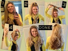 Curling Long Hair, Simple and fast! I don't believe it will work on my hair, but I want to remember to try it.