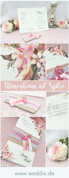 #einladung #einladungskarte #blüten #blütenmotiv #watercolor #spitze  #kraftpapier #vintage #hochzeit #wedding