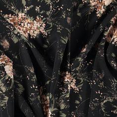 Krepp chiffon sort med blomster - STOFF & STIL Party Tops, Buy Cheap, Chiffon, Flowers, Fabrics, Stuff To Buy, Black, Silk Fabric, Tejidos