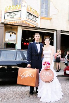 Pink and Orange Vintage Travel Themed Wedding