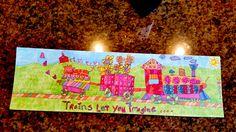 "JennyLU Designs Giclee 5""x12"" Art Print - Trains, Train Art, Childrens Illustrations, Original Art, Childrens gifts, by JennyLU on Etsy"