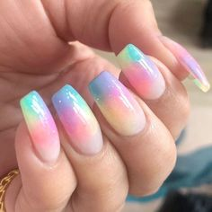 Coffin Nails With Pastel Rainbow ❤️ We have covered the best Easter nails art in this article for your inspiration! ❤️Easter Coffin Nails With Pastel Rainbow ❤️ We have covered the best Easter nails art in this article for your inspiration! Easter Nail Designs, Easter Nail Art, Nail Designs Spring, Spring Nail Art, Easter Color Nails, Cute Spring Nails, Fall Nails, Best Acrylic Nails, Acrylic Nail Designs