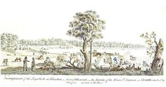 SPECIAL TO THE EXAMINER Encampment of the Loyalists at Johnstown, on the Banks of the River St. Laurence in Canada, taken June 6th. 1784; by James Peachey (fl 1770s to 1790s). This ubiquitous illustration has been copied by other artists, and used in American history textbooks.