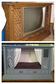TV Console Dog Bed: I've revamped this old console TV into a swanky little dog bed, complete with wainscot backing, pergo floors, lace curtains, and a little chalkboard nameplate. Love how it turned out!