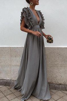 0a26c26251a Sexy Gray V Neck Short Sleeves Maxi Dress