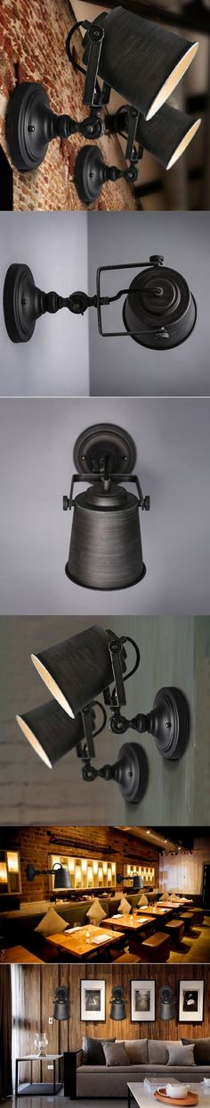 Lamp Chandelier Rustic Adjustable Single Light Industrial Wall Sconce Fixture Lamp Home Decoration Wall Light $38.57