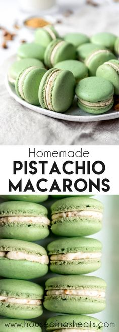 These delightful Pistachio Macarons are filled with pistachio buttercream and remind me of our time in Paris and the famous French macarons we got from Ladurée. Let your tastebuds do the traveling without the jetlag by making these at home! Pistachio Macaron Recipe, Best Macaron Recipe, Pistachio Dessert, Pistachio Recipes, Macaron Flavors, Easy Macaroons Recipe, Fun Desserts, Delicious Desserts, Cookies