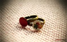 Little Bronze Rings Red & Cream with flowers https://www.facebook.com/peppermint.jewels