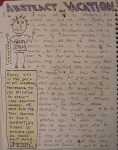 Always Write: Personified Abstractions go on Vacation...a writer's notebook extra-credit challenge