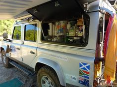 Right side lockable wing door opens to food cupboard. With the awning extended, this becomes the perfect outdoor kitchen. Landrover Defender, Defender Camper, Land Rover Defender 110, Land Rover Series 3, Best 4x4, Coffee Business, Car Camper, Off Road Adventure, 4x4 Off Road