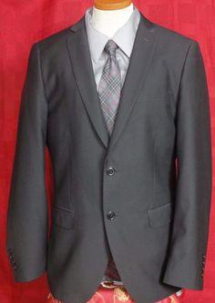 H&M Men's Black Polyester Blend 2 Button Blazer Size 40R #HM #TwoButton