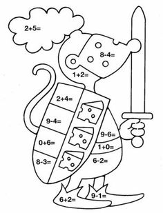 Math Coloring Pages Addition And Subtraction from School Coloring Pages category. Find out more nice pictures to color for your kids 1st Grade Math, Kindergarten Math, Preschool, Printable Math Games, Math Pages, School Coloring Pages, Color By Numbers, School Worksheets, Math For Kids