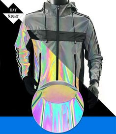 The fashion reflective jacket made of rainbow reflective polyester fabric is popular in nowadays. Hologram, Industrial Design, Color Patterns, Casual Wear, Beauty Hacks, Cute Outfits, Vest, Rainbow, Fashion Outfits