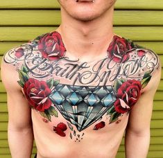 diamond and roses chestpiece #chest #piece #tattoo #guy #boy #ink