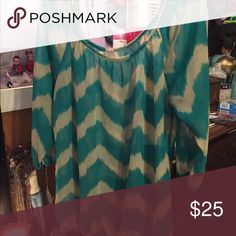Really pretty chevron shirt. Super cute. Comfortable. Sheer. Forever 21 Tops Blouses