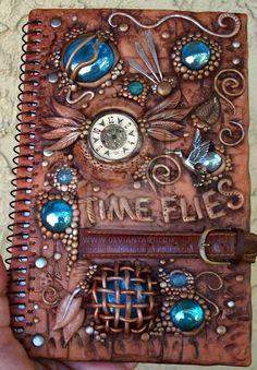 Polymer clay decorated journal by MandarinMoon.deviantart.com on @deviantART