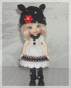 Amelia Thimble Dolls White Fair Isle Dress Ear by JCsTinyTreasures, $25.00