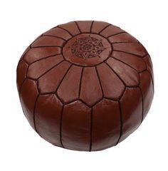 Brown Leather Moroccan Ottoman - June, Unique Finds