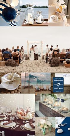 Beach Wedding Photos - Any time you search 'beach wedding' the images that appear can be extremely cheezy. Your beach wedding can be modern, classy, and romantic. Here is some inspiration… {photo credits} row Navy Blue . Wedding Ceremony Ideas, Beach Ceremony, Wedding Themes, Wedding Events, Our Wedding, Dream Wedding, Wedding Decorations, Wedding Gazebo, Wedding Cake