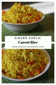 Low Carb Recipes To The Prism Weight Reduction Program Quick And Easy Ginger Garlic Carrot Rice Recipe Throw It In The Instant Pot Or A Quick Side Dish Rice Recipes, Low Carb Recipes, Vegetarian Recipes, Easy Recipes, Rice Dishes, Main Dishes, Quick Side Dishes, Morning Food, Vegetarische Rezepte