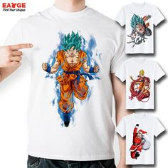[EATGE] Anime Series Dragon Ball Z T Shirt Fashion Brand Short Sleeve Printed Tshirt Men Casual Funny Super Saiyan Goku T-shirt