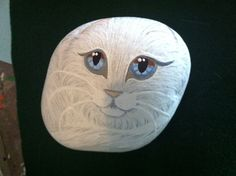 Hand Painted White Cat on a River Rock OOAK by SallyStones on Etsy