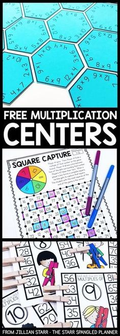FREE Multiplication Centers to help your students memorize their multiplication facts and build fact fluency. A mix of printable games, logic puzzles, and hands on activities that are perfect for 2nd, 3rd and 4th grade math centers and stations!