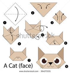 step by step instructions how to make origami A Cat.