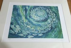 A shoal of fish swim through lime green & turquoise swirling ocean waters. A Limited Edition 40 x 50cm mounted print of my original hand painted silk painting. Perfect for any wall in your home - but perhaps particularly ideal on the bathroom wall - (or by the tropical fish tank) - (or next to the cat basket..... just to tempt him....!)  PRODUCT DETAILS  • I will print this image onto watercolour paper, using my own printer (the one that is stuffed into my tiny bedroom upstairs!) • Then ...